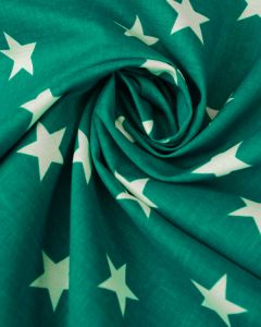 Large Star Print Cotton Fabric - White on Teal
