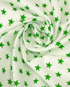 Stars Print Cotton Fabric - Green on White