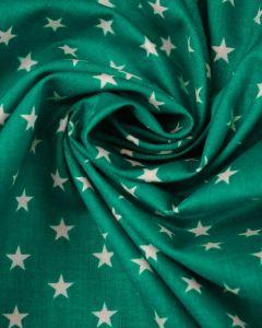Stars Print Cotton Fabric - White on Teal