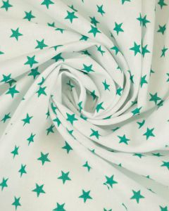 Stars Print Cotton Fabric - Teal on White