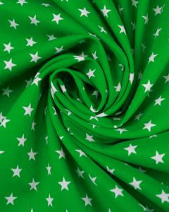 Stars Print Cotton Fabric - White on Green