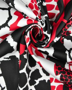 Stretch Cotton Sateen Fabric - Abstract Animal Print Red & Black