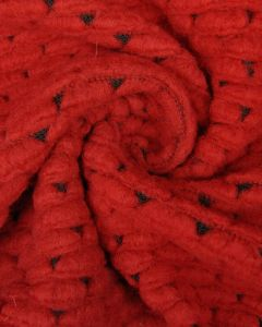 Crochet Topped Jersey Fabric - Red