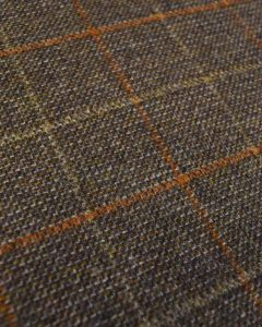 Wool Check Fabric - Brown & Orange Check