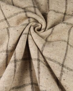Wool Coating Fabric - Cream and Grey Check