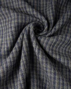 Wool Blend Suiting Fabric - Navy & Grey Check