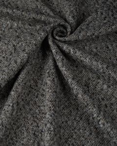 Wool Blend Coating Fabric - Grey & Beige Herringbone Texture