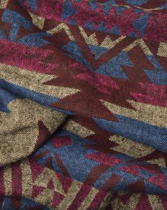 Brushed Poly Coating Fabric - Aztec Stripe Foxglove