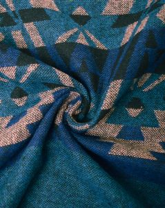 Brushed Poly Coating Fabric - Aztec Stripe Blue