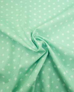 Stars Print Cotton Fabric - White on Mint