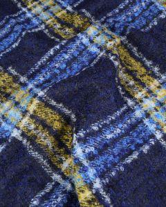 REMNANT Blue Check Mohair Boucle Fabric - 100cm x 150cm