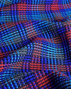 Poly Blend Coating Fabric - Blue & Red Check