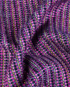 Wool Blend Coating Fabric - Chenille Stripe Fuschia