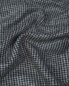 Wool Blend Coating Fabric - Houndstooth Grey