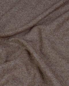 REMNANT Wool Blend Tweed Fabric - Brown Herringbone