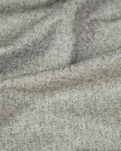Wool Blend Tweed Fabric - Grey Herringbone