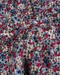 REMNANT Cotton Babycord Fabric - Autumn Floral Multi