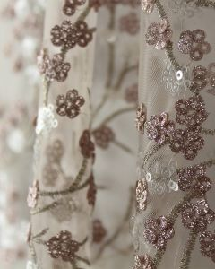 Embellished Tulle Fabric - Cherry Blossom