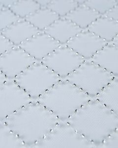 Beaded Tulle Fabric - Lattice Ivory