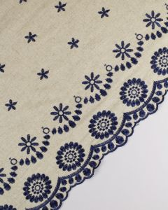 Linen Blend Fabric - Navy Embroidery
