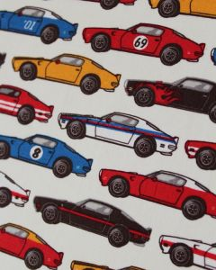 Cotton Poplin Fabric - Red Race Cars