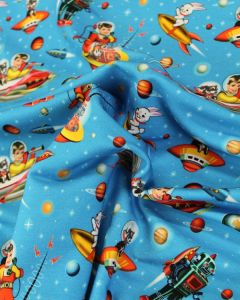 REMNANT Cotton Loop Back Jersey Fabric - Retro Space Kids