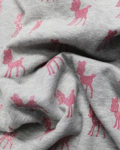 Cotton Blend Sweatshirt Fabric - Glitter Deers