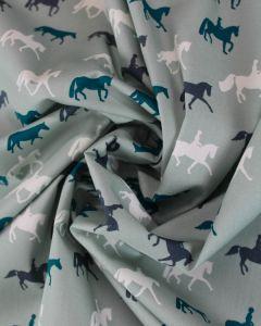 Cotton Poplin Fabric - Horse Riding