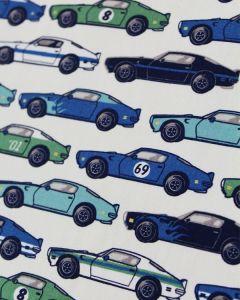 Cotton Poplin Fabric - Blue Race Cars