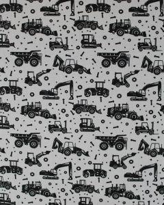 Cotton Poplin Fabric - Black Tractors