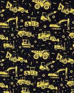Cotton Poplin Fabric - Yellow Tractors