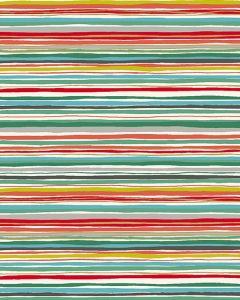 Patchwork Cotton Fabric - Merry Xmas - Wavy Stripe