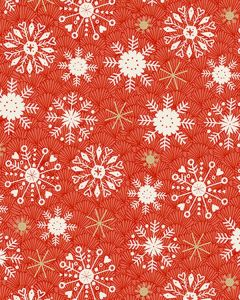 Patchwork Cotton Fabric - Merry Xmas - Red Snowflake