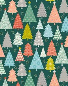 Patchwork Cotton Fabric - Merry Xmas - Trees