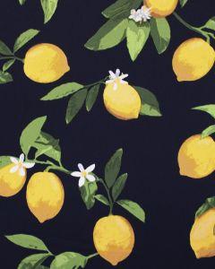 REMNANT Cotton Sateen Fabric - Lemon Blossom Navy