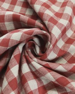 Yarn Dyed Linen Fabric - Red Gingham