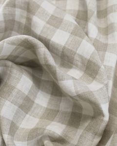 Yarn Dyed Linen Fabric - Ivory Gingham