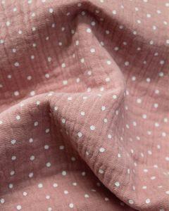Cotton Double Gauze Fabric - Spotty Rose
