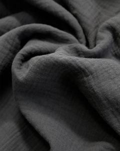 Cotton Double Gauze Fabric - Charcoal