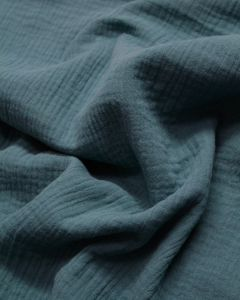 REMNANT Cotton Double Gauze Fabric - Marine Blue