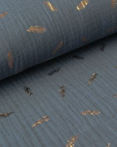 Cotton Double Gauze Fabric - Foil Feather Slate