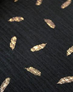 Cotton Double Gauze Fabric - Foil Feather Black