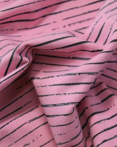 Cotton Jersey Fabric - Sketch Stripe Pink