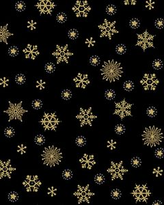 Patchwork Cotton Fabric - Snowflakes on Black