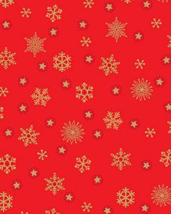 Patchwork Cotton Fabric - Snowflakes on Red