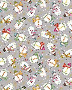 Patchwork Cotton Fabric - Snow Men