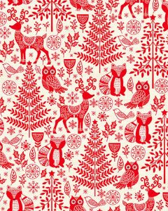 Patchwork Cotton Fabric - Forest Animals Red