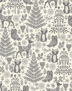 Patchwork Cotton Fabric - Forest Animals Grey
