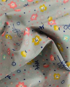 Cotton Needlecord Fabric - Confetti Floral Grey