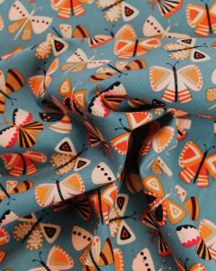 Cotton Needlecord Fabric - Folk Butterflies